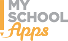 My School in gray color with an orange pencil on the left of the graphic and Apps written in orange and cursive type font.